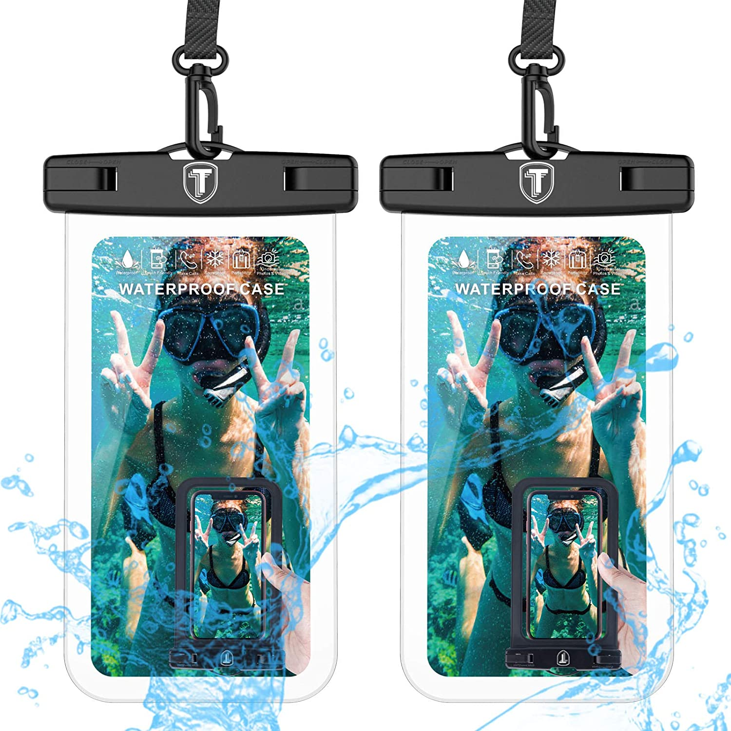 Tekcoo Universal Waterproof Case, 2-Pack IPX8 Waterproof Phone Clear Pouch Dry Bag Compatible iPhone 11 Pro/Xs Max//XR/X/8 Plus, Galaxy S10/S10+/S9/Note 10,10+,9, Moto G7,Pixel 3A & Phones Up to 6.5""