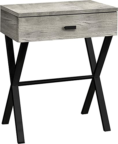 Monarch Specialties TABLE-24 H GREY RECLAIMED WOOD BLACK METAL ACCENT