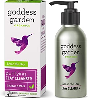 product image for Goddess Garden - Erase the Day Purifying Clay Cleanser - Sensitive Skin, Certified Organic, Vegan, Leaping Bunny Certified Cruelty-Free, Paraben-Free, Certified B Corp - 4 oz Bottle