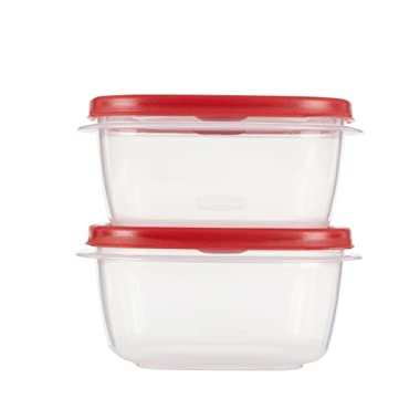 Rubbermaid Easy Find Lids Food Storage and Organization Containers, Set of 2 (4 Pieces Total), Racer Red