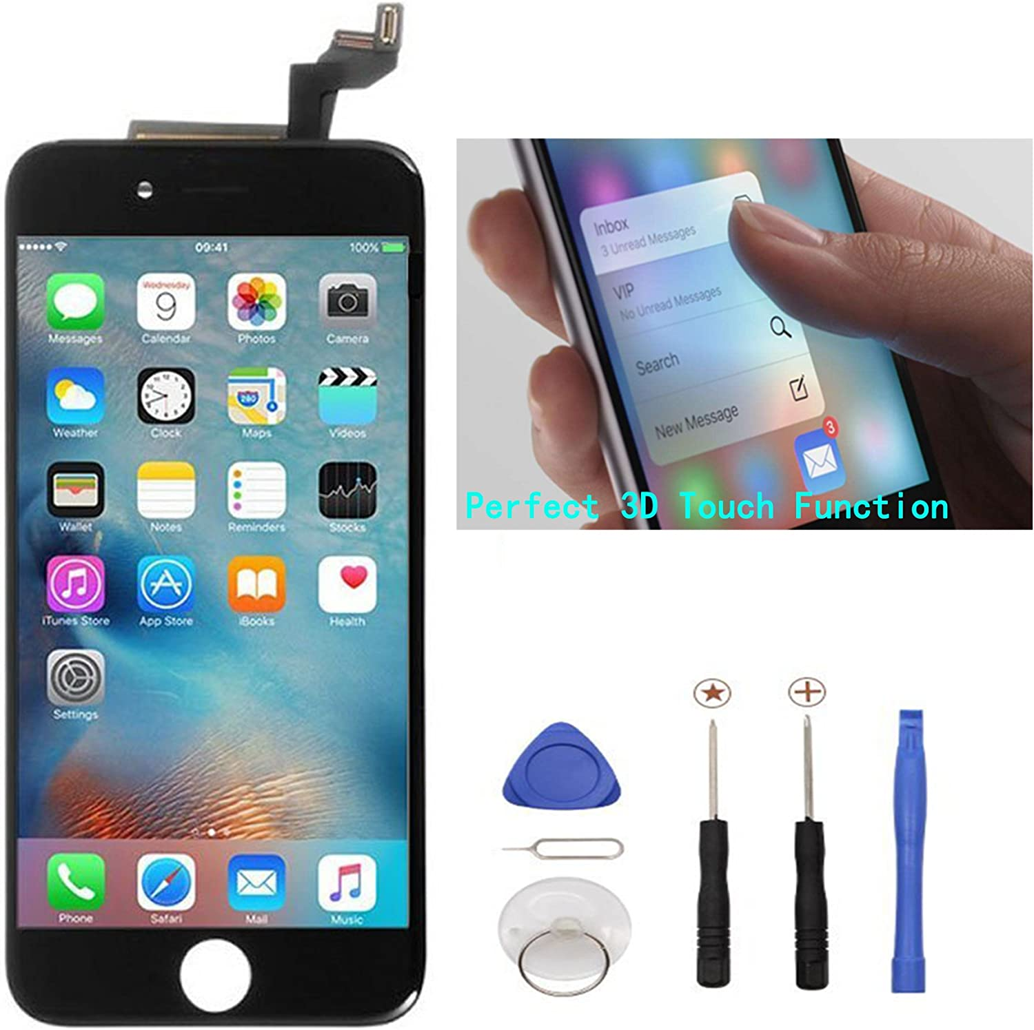 ZTR Black LCD Display Touch Digitizer Screen Assembly Replacement for iPhone 6s 4.7 inch