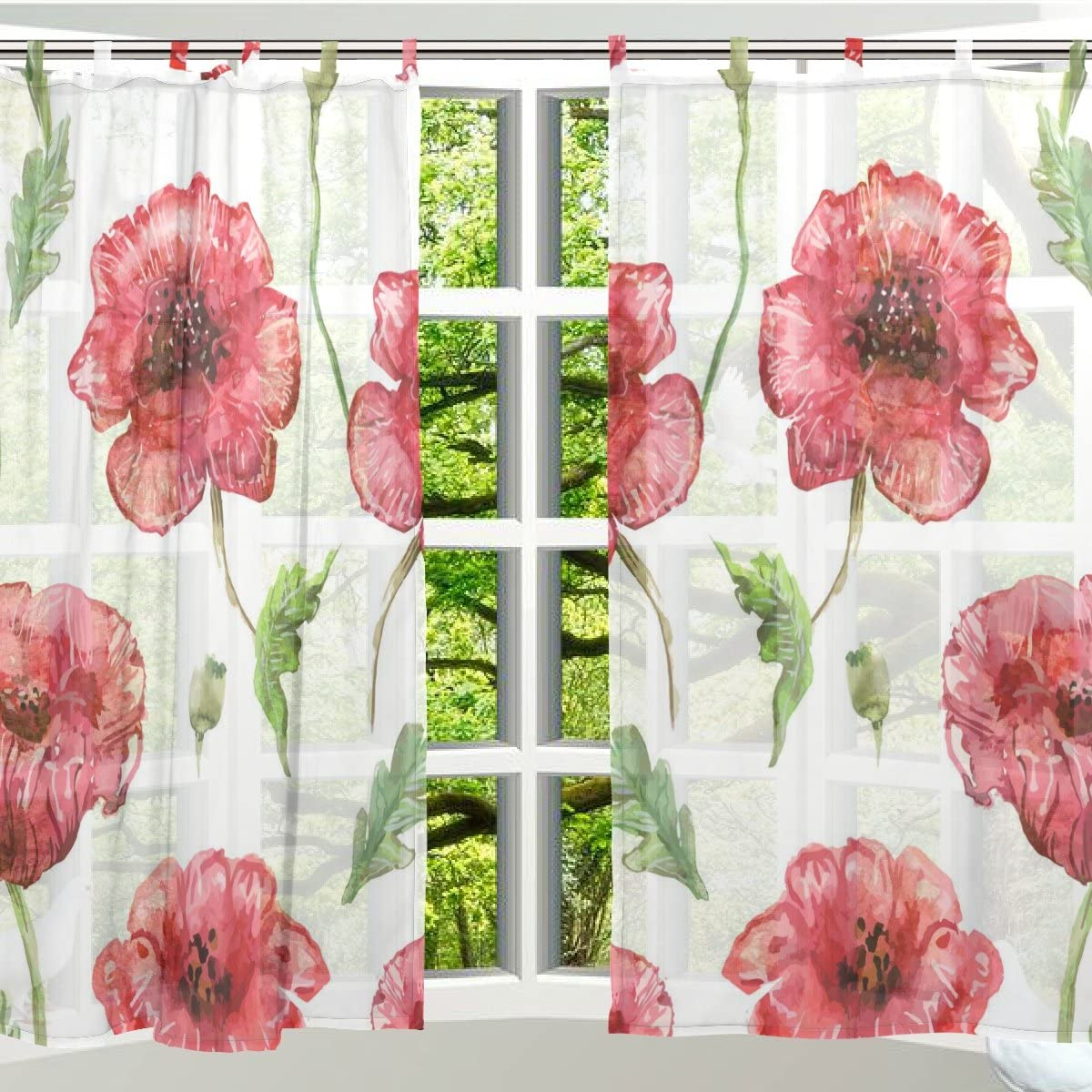 ALAZA 2 PCS Window Decoration Sheer Curtain Panels,Vintage Floral Red,Polyester Window Gauze Curtains Living Room Bedroom Kid s Office Window Tie Top Curtain 55×78 inch Two Panels Set