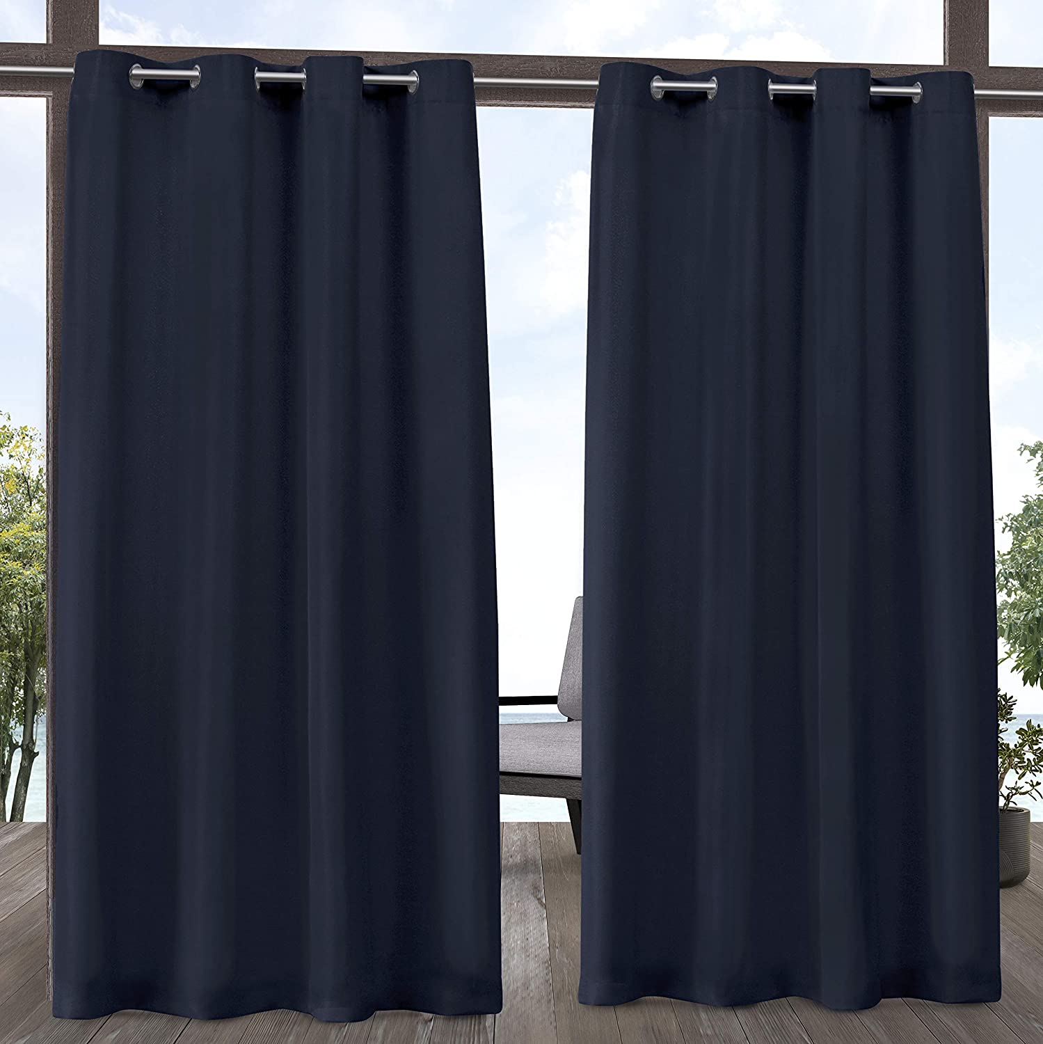 Exclusive Home Curtains EH8277-12 2-120G Indoor/Outdoor Solid Cabana Grommet Top Curtain Panel Pair, 54x120, Navy