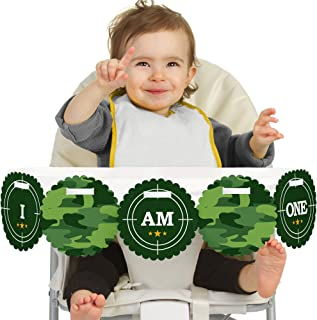 product image for Big Dot of Happiness Camo Hero 1rst Birthday Highchair Decor - I Am One - First Birthday High Chair Banner