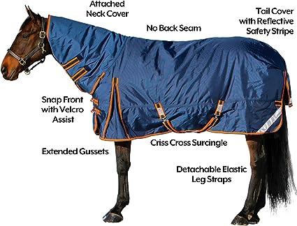 "600D Turnout Waterproof Horse WINTER BLANKET MEDIUM WEIGHT-NAVY BLUE 72/""-74/"""