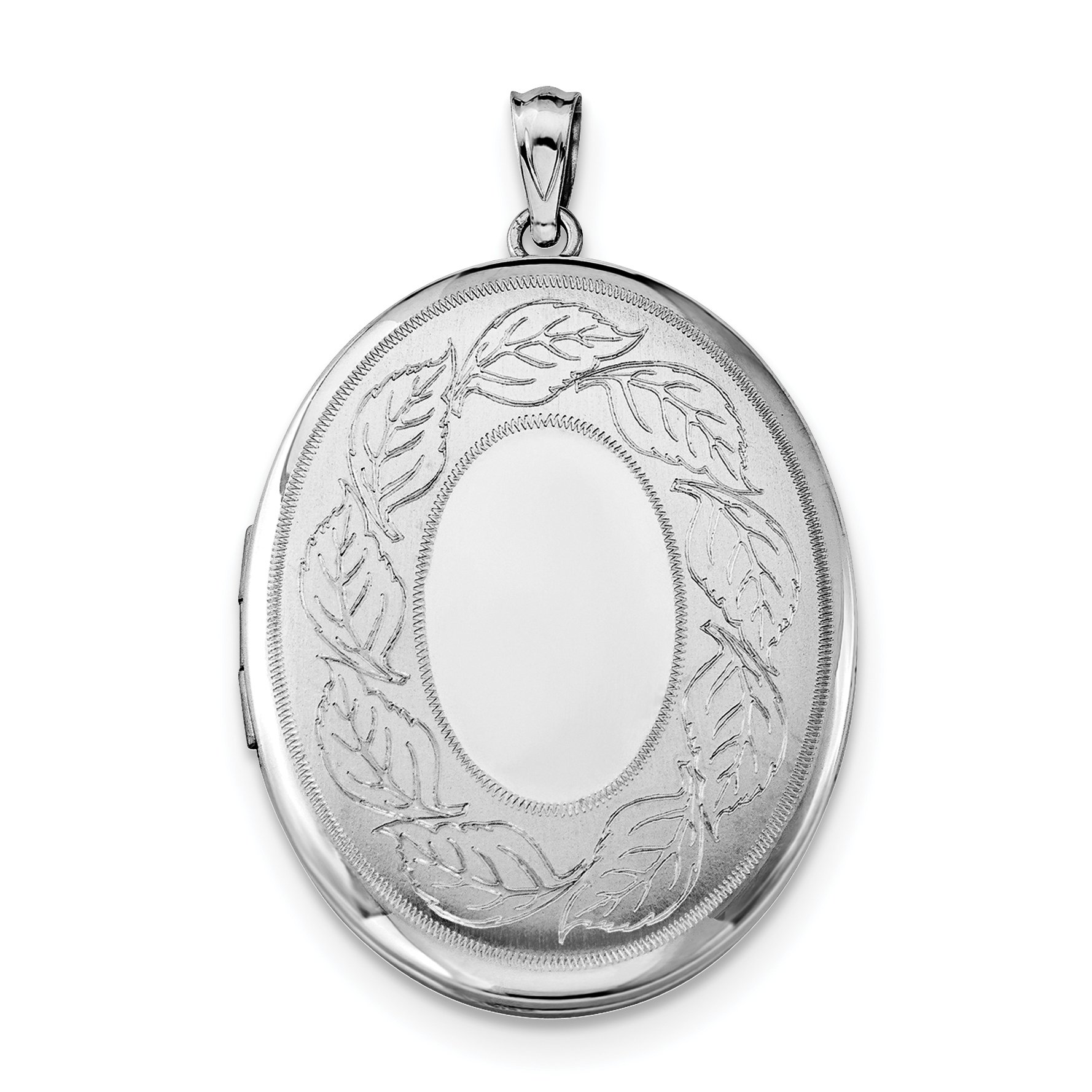 ICE CARATS 925 Sterling Silver Leaves Border 34mm Oval Photo Pendant Charm Locket Chain Necklace That Holds Pictures Fine Jewelry Gift Set For Women Heart