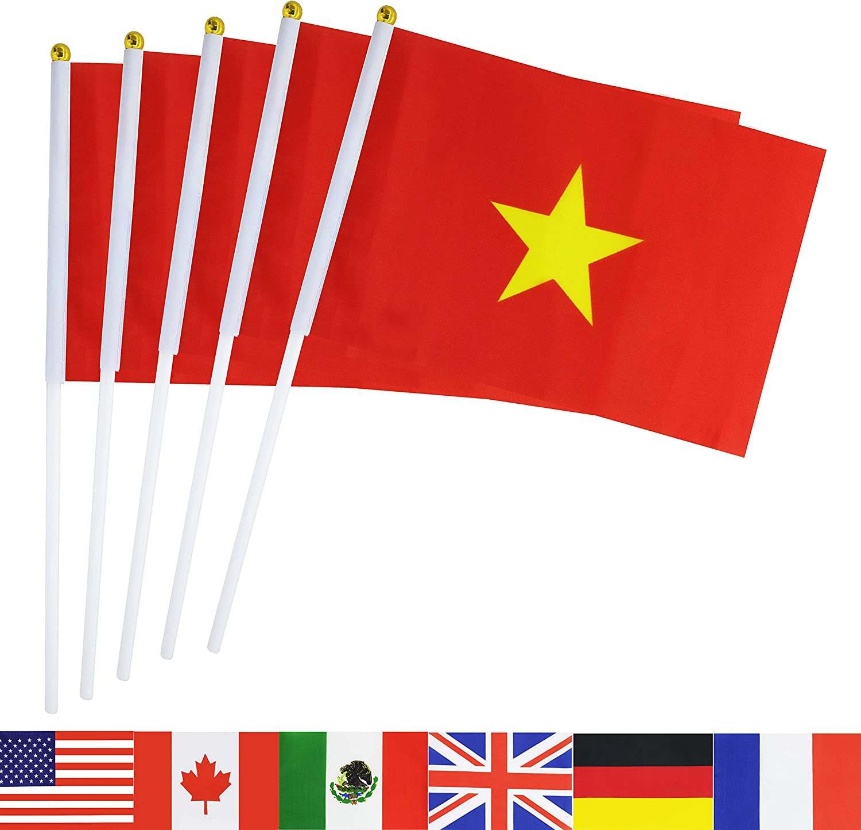"Vietnam Miniature Fabric Hand Held Table Top Desk Flag Poly 4/"" x 6/"""