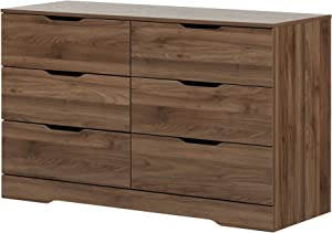 South Shore Holland 6-Drawer Double Dresser, Natural Walnut