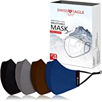 Swiss Eagle MULTICOLOUR Cotton Respirator 6 Layer Reusable Outdoor Face Mask (PACK OF 4)