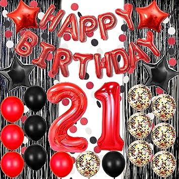 Amazon.com: 21 cumpleaños decoraciones negro y rojo feliz ...