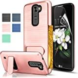 LG Tribute 5/LG K7/LG Treasure LTE Case With HD Screen Protector,AnoKe Card Slots Holder Kickstand Shock proof Anti-Scratch Thin Non Slip Matte Back Hard Wallet Case For LG Tribute 5 KC1 Rose Gold