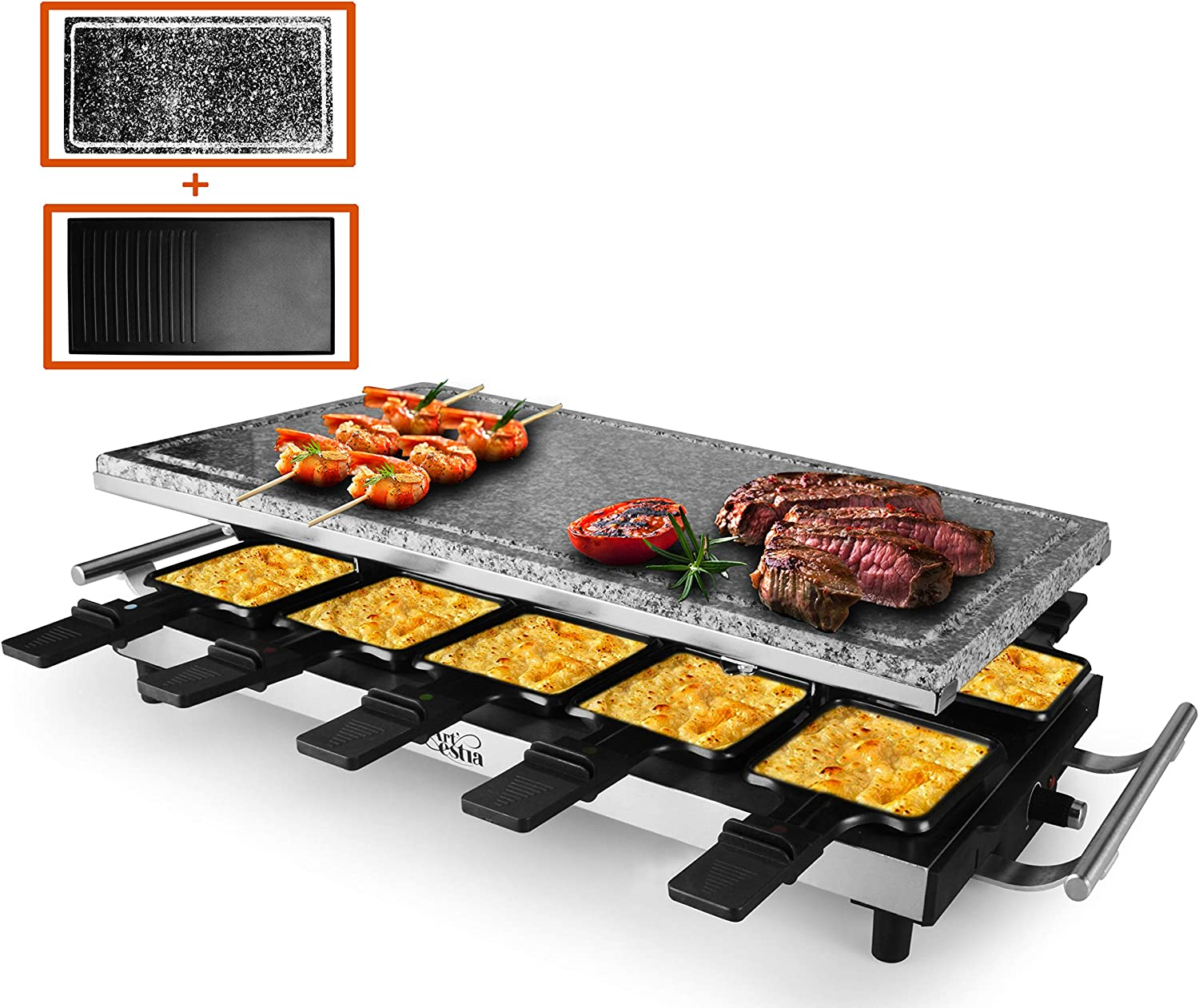 Artestia 10 Person Large Stainless Steel Electric Raclette Grill with Two Full Size Top Plates, High Power 1500W Full Size Stone and Non-Stick Reversible Aluminum Plate for 10 persons
