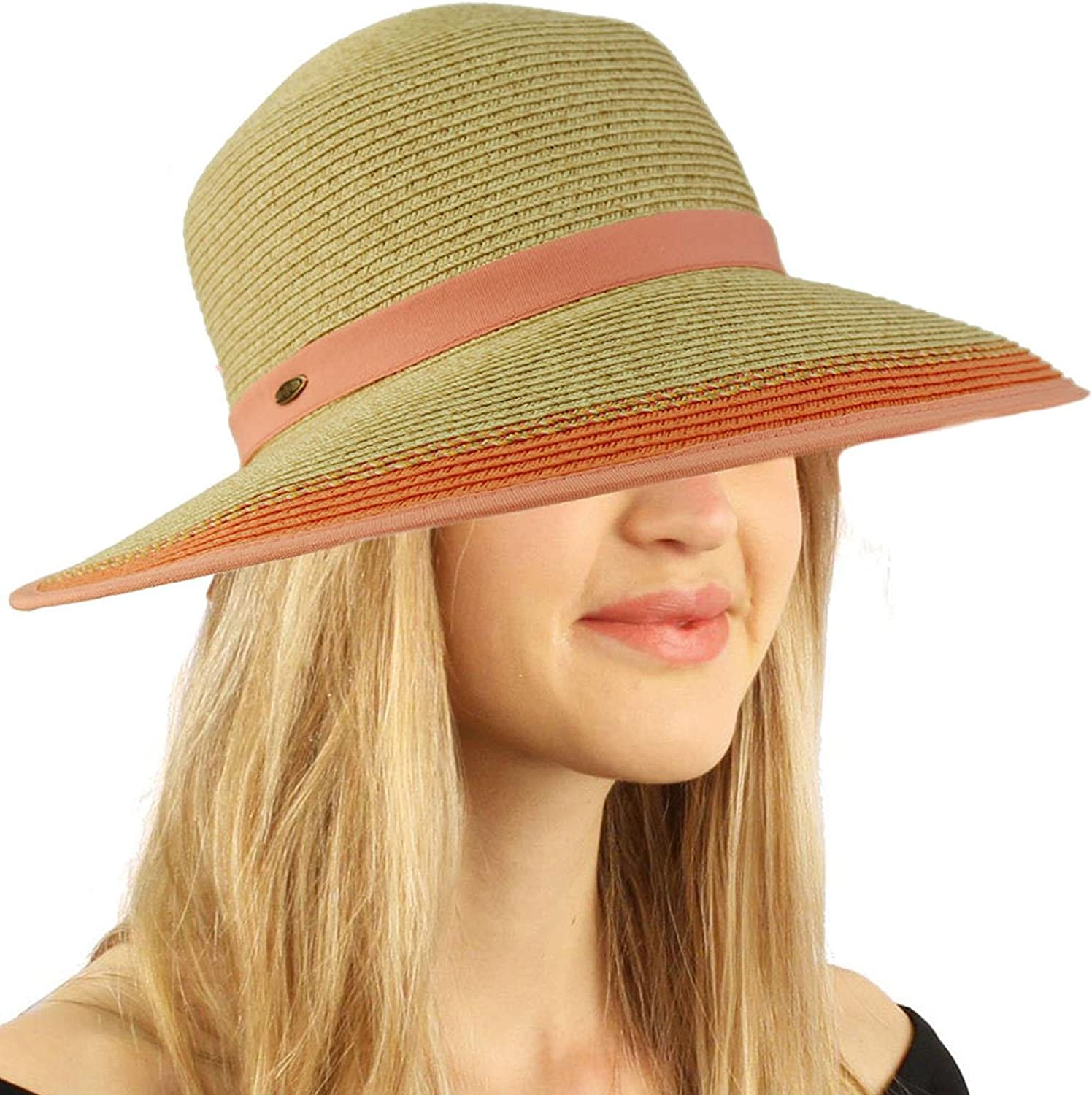 C.C Backless Brim Floppy Visor 3-3//4 Wide Summer Beach Pool Sun Hat Cap