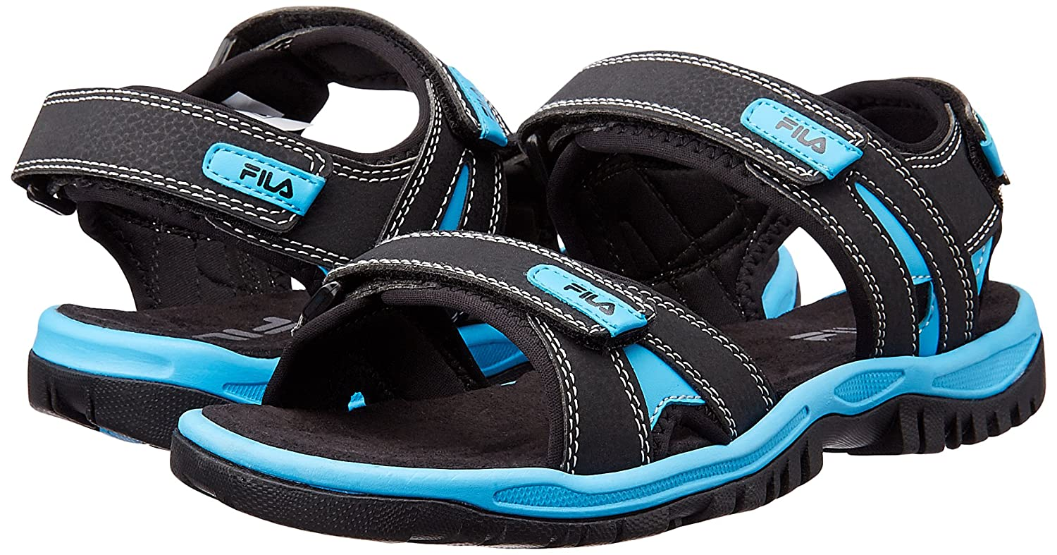 bf0c15d8b2e3 Fila Men s Belmont Black and Blue Sandals and Floaters - 6 UK India (40  EU)  Buy Online at Low Prices in India - Amazon.in