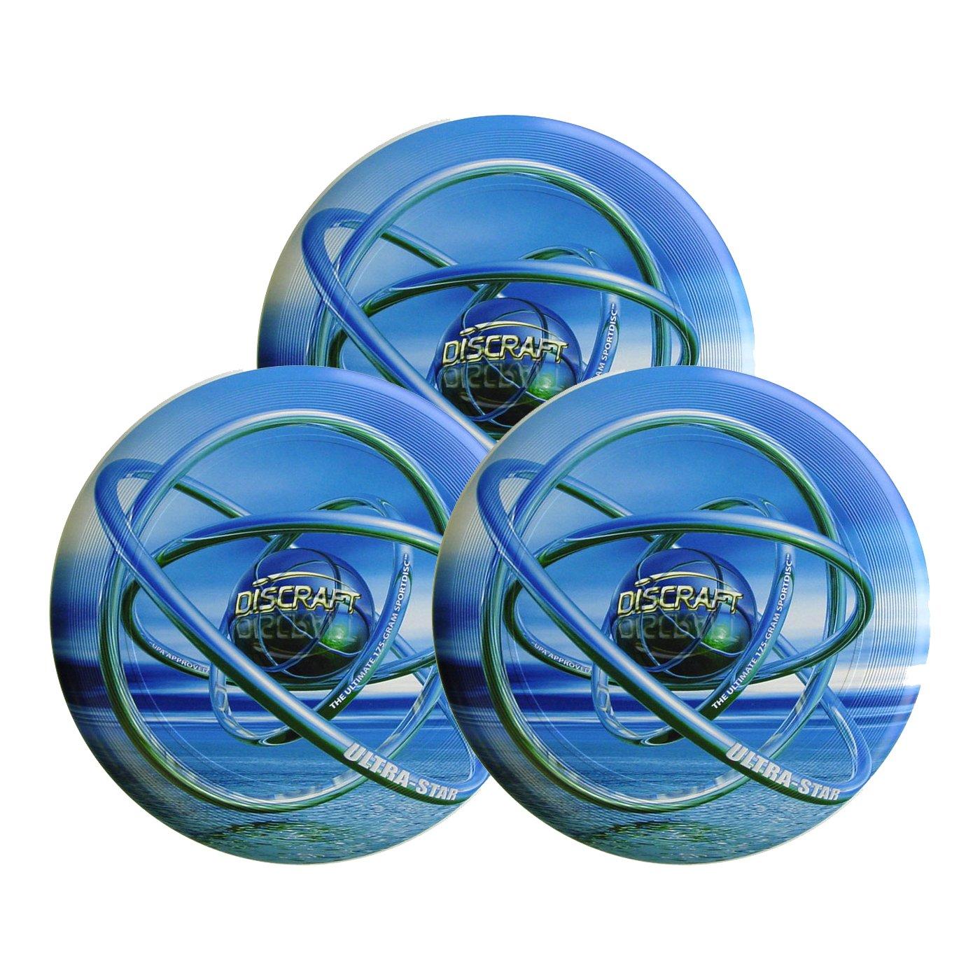 Discraft SuperColor Ultra-Star 175g Ultimate Sportdisc Blue Orb (3 Pack)