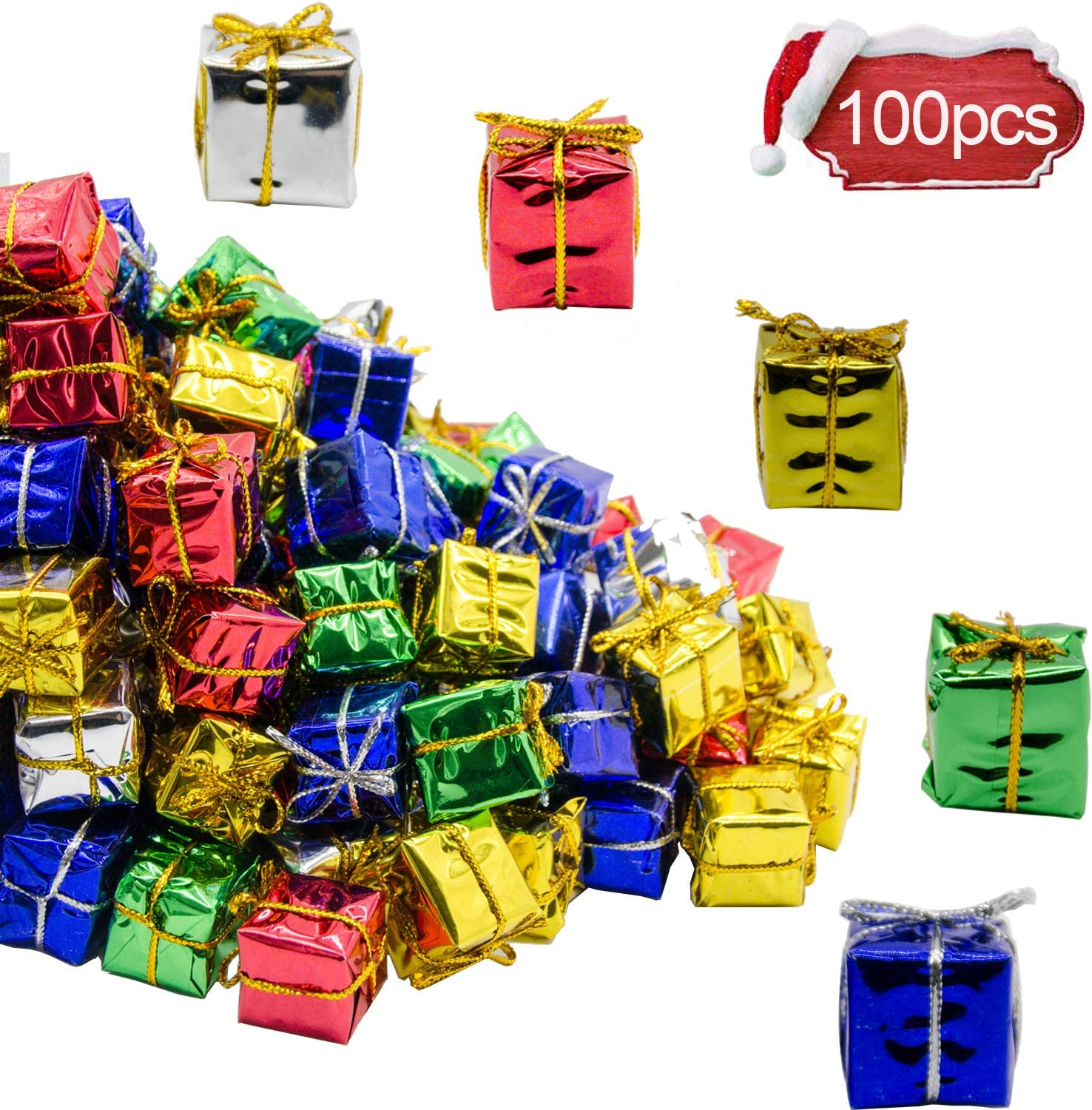 Alpurple 100 PCS Shiny Mini Boxes Ornaments-Assorted Colors Metallic Foil Wrapped Ornaments Decoration Boxes for Christmas Tree Hanging Decorations