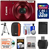 Canon PowerShot Elph 190 IS Wi-Fi Digital Camera (Red) with 32GB Card + Case + Battery + Tripod + Kit