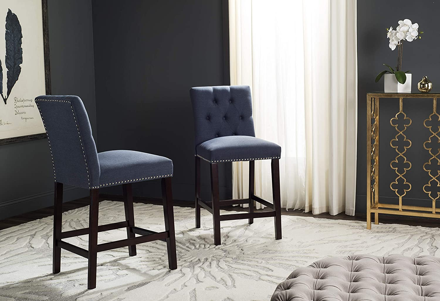Safavieh Home Collection Norah Navy and Espresso Counter Stool Set of 2