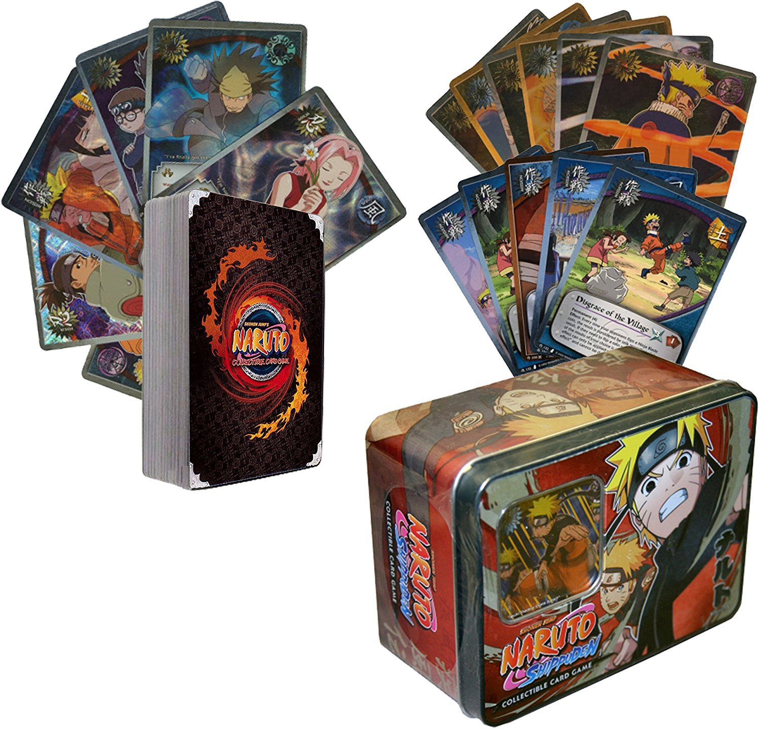 100 Assorted Naruto Collectible Cards With Rares and Foils. Includes Random Naruto Sealed Tin GoldenGroundhog