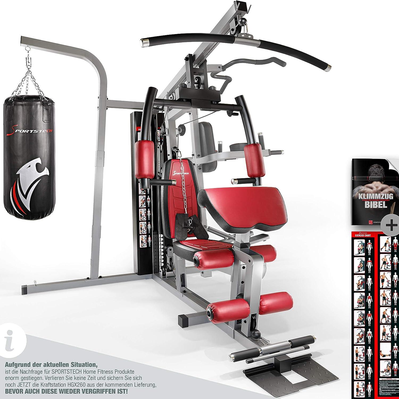 Sportstech 50en1 Premium Multiestación para Entrenamiento Completo | Gimnasio Multifuncional con Stepper y Torre de Tracción LAT | Estación de Fitness | HGX de Material Eva | Robusto | Hogar & Box