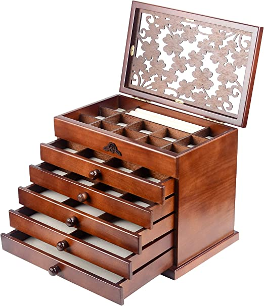 Amazon.com: WJC065HT caja de madera para joyas, de madera ...