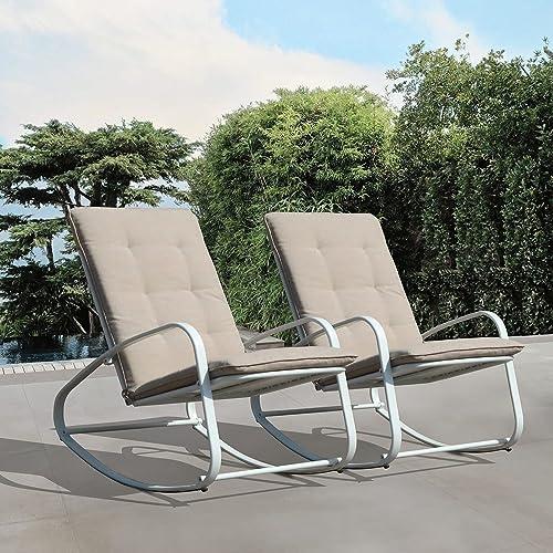 OC Orange-Casual Patio Rocker Outdoor Metal Rocking Chair