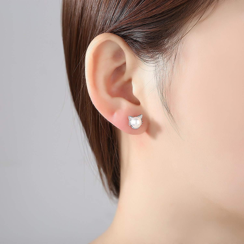 Cute Cat Ear Sterling Silver CZ & Freshwater Pearl Stud Earrings for Women Girls by JORA (Image #2)
