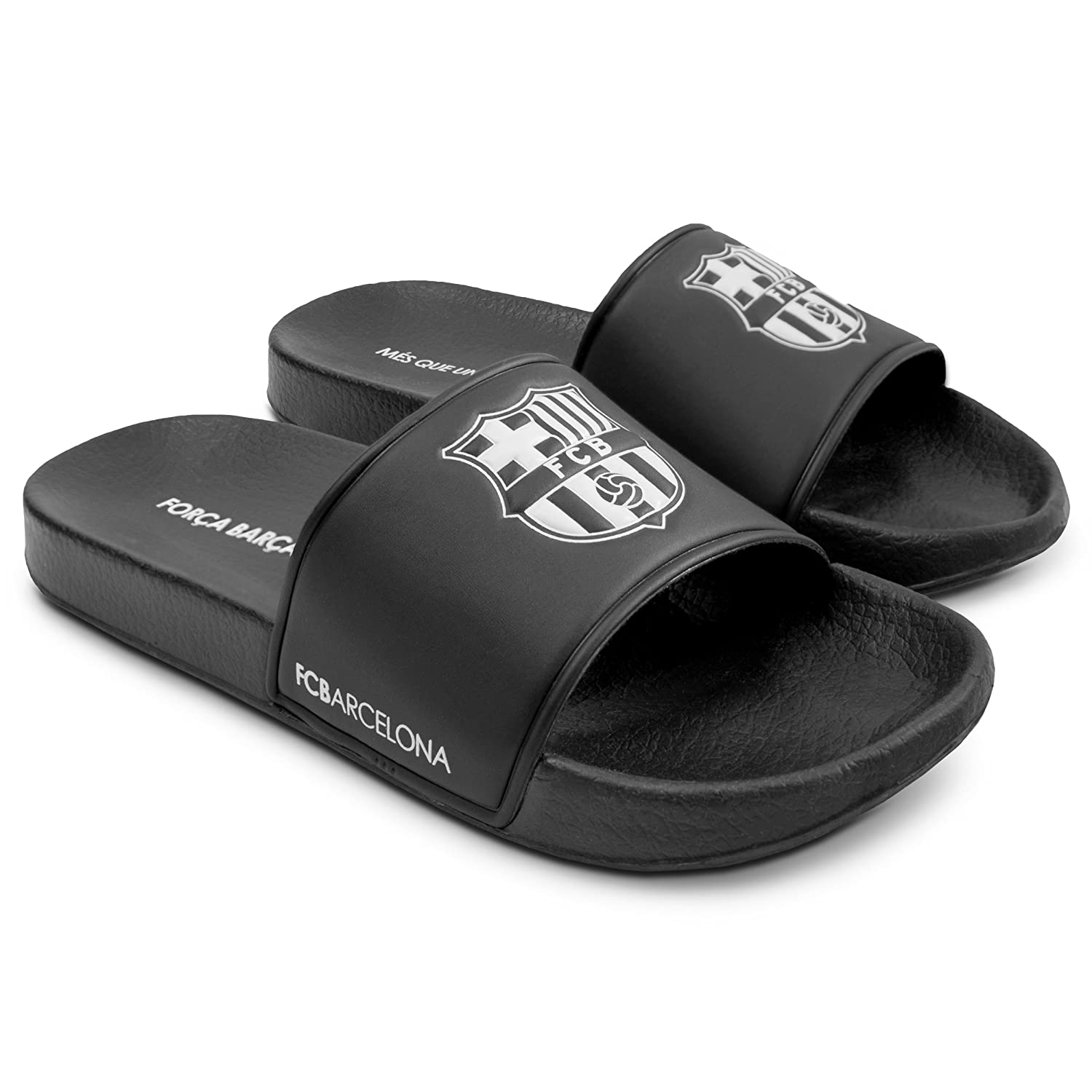 6ad9caf9261046 Amazon.com  FC Barcelona Men Pool Slide Sandal – Water-Resistant Slippers  for Beach   Shower Black White  Shoes