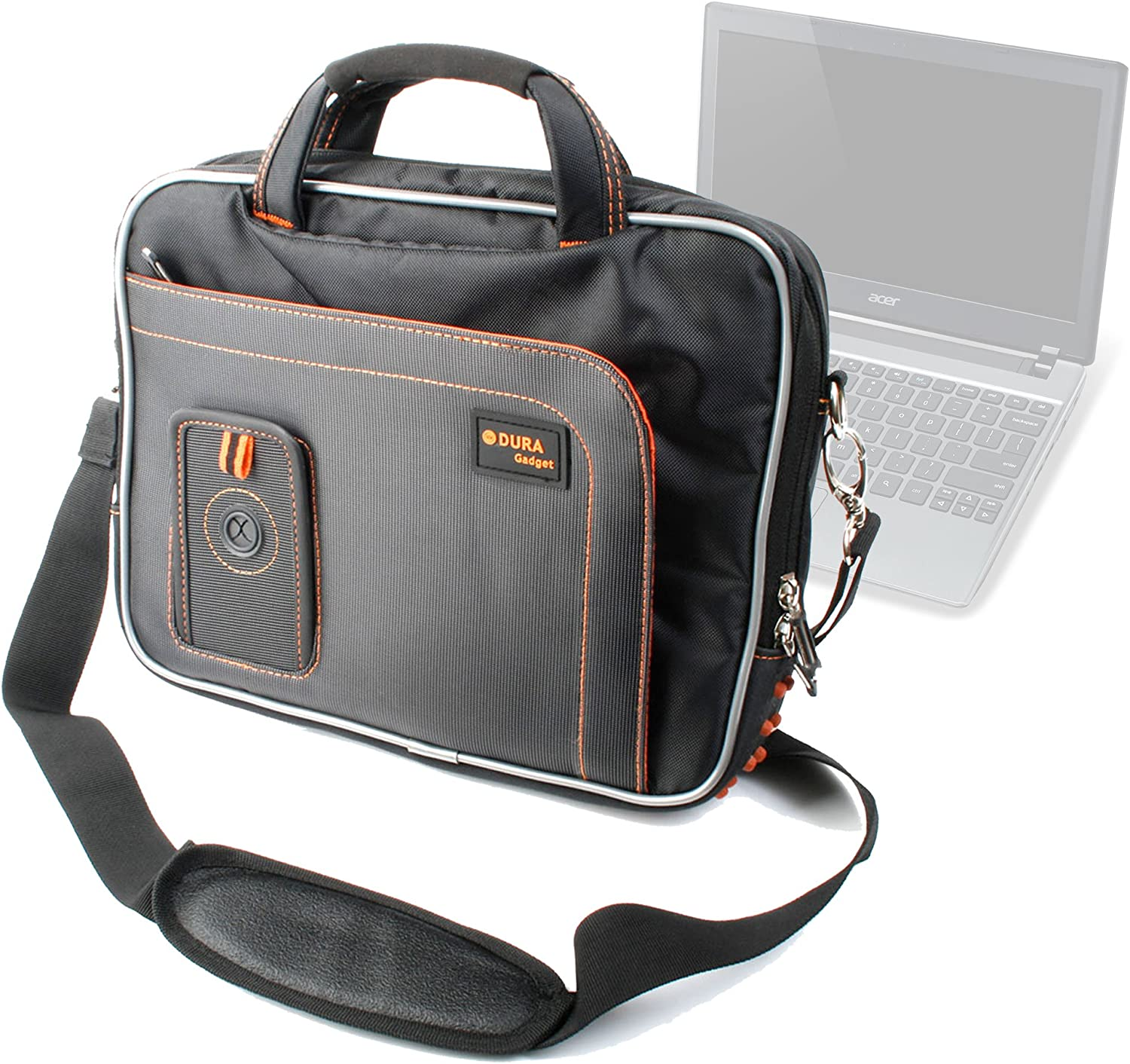 DURAGADGET Black Laptop Bag Shoulder Strap Case for Acer Chromebook Series C7 & Acer C720 Chromebook