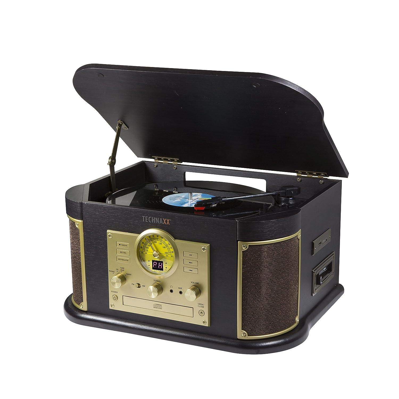 Technaxx TX-103 - Tocadiscos (Tocadiscos de tracción por Correa, Semiautomático, Negro, Oro, 33,45,78 RPM, DC Motor, Giratorio) 4755