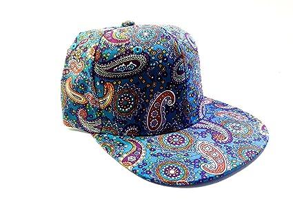 Amazon.com   Brand New Aqua Paisley Print Snapback Hat Cap Adult Sz ... ae2f7550e76