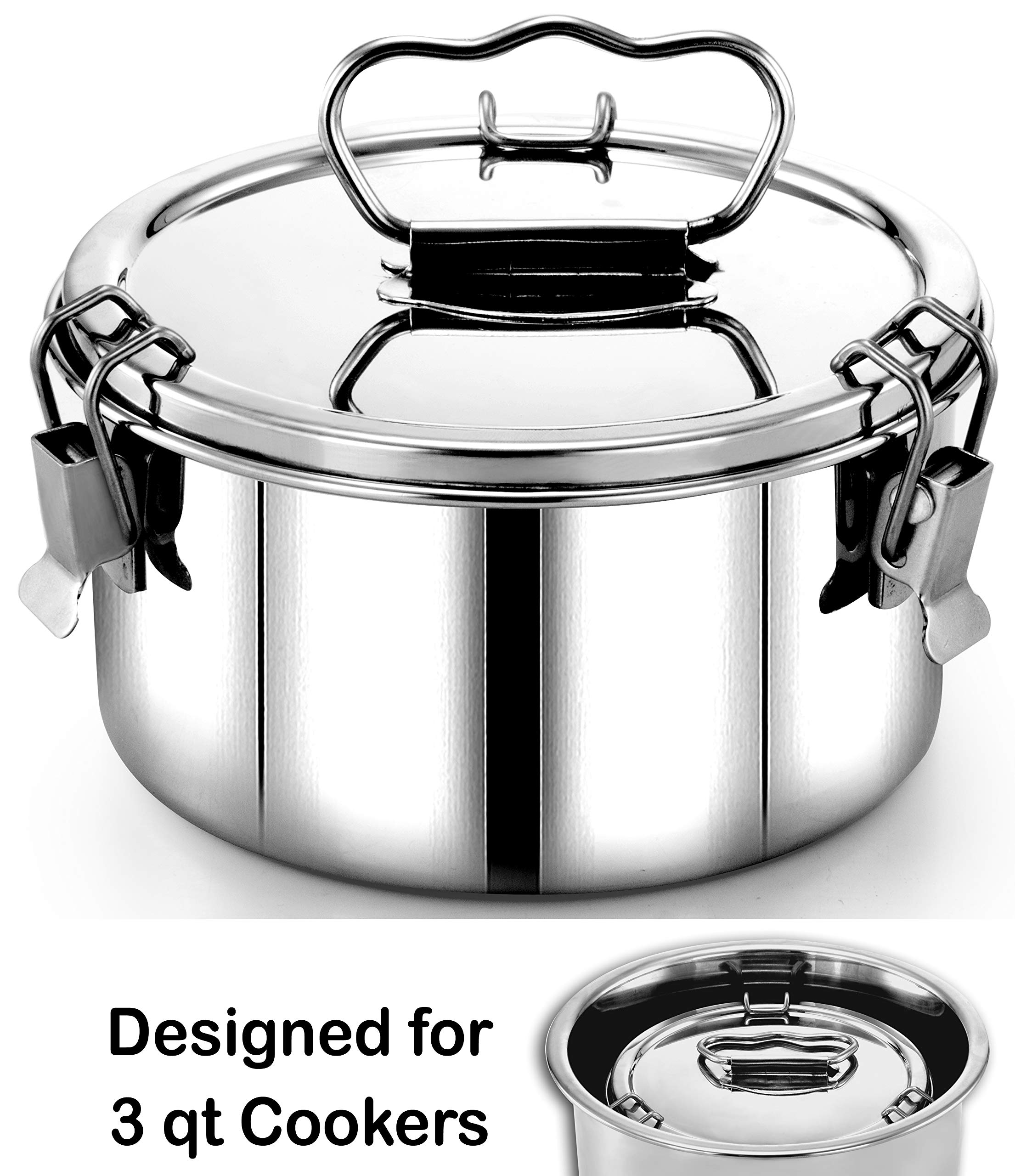 EasyShopForEveryone Stainless Steel Lasagna, Pie, Quiche, Round Au Gratin Dish, Pudding, Tart, Casserole, Bakeware, Flan Mold, 6 Inch Cheesecake Pan, Compatible with 3qt Mini Instant Pot, Pot in Pot by EasyShopForEveryone