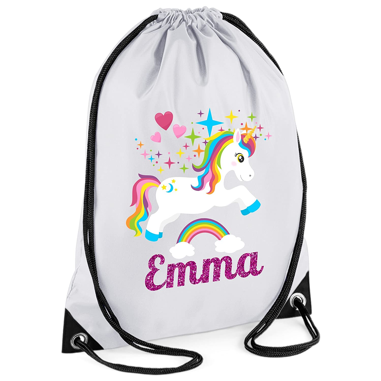 44th Street Ltd Personalised Unicorn Drawstring PE Sports Swimming Gym Bag - Design 3A