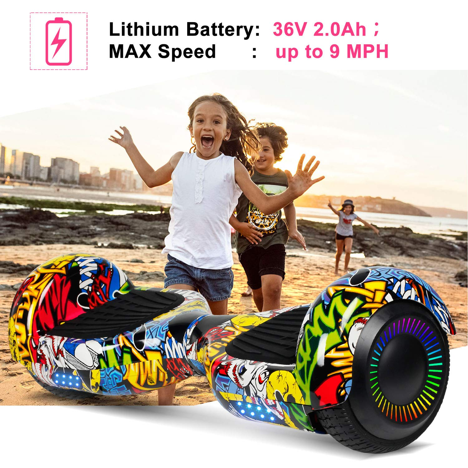 SISIGAD Hoverboard Self Balancing Scooter 6.5'' Two-Wheel Self Balancing Hoverboard with LED Lights Electric Scooter for Adult Kids Gift UL 2272 Certified Fun Edition - Graffiti by SISIGAD (Image #3)