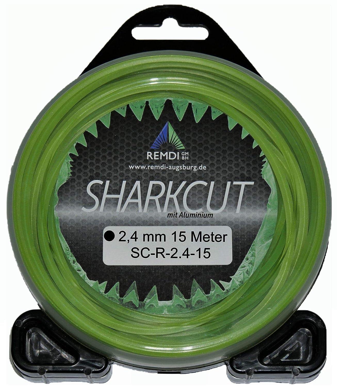 Sharkcut Fil de coupe professionnel en aluminium Fil de nylon Fil de coupe 2,4 mm Diff/érentes longueurs et formes rond, 15 m/ètres