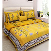JAIPUR PRINTS Traditional Jaipuri Print King Size Double Bed Sheet with 2 Pillow Covers (100% Cotton)