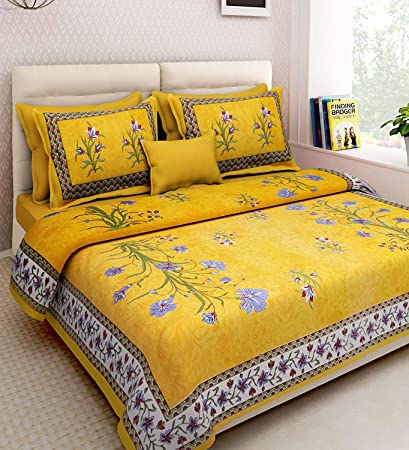 Shop Jaipuri Cotton Rajasthani Double Bedsheet With 2 Pillow Cover 100%  Cotton Double Bedsheet Rajasthani Bedcover