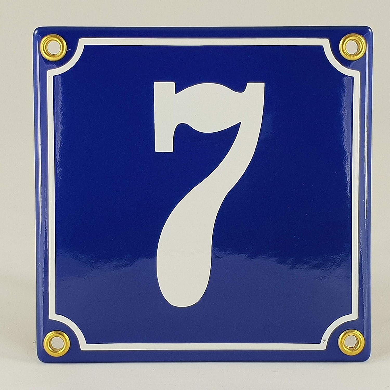 Emaille Schild Hausnummer 29 Blau-Wei/ßHandarbeit