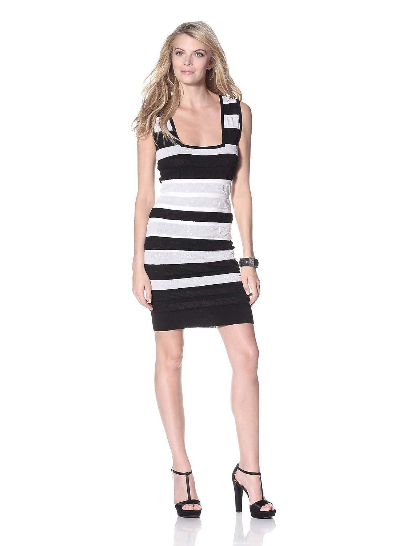 Nicole Miller Women's Shirred Overlay Stripe Sleeveless Stretch Knit Dress, Black/Cream, L