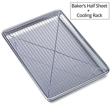 Chef's Star Aluminum Commercial Baker's Half Sheet with Cooling Rack Set - 17.75  X 13