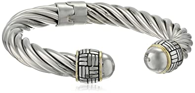 Amazon Com Two Tone 14k Yellow Gold Plated And Sterling Silver