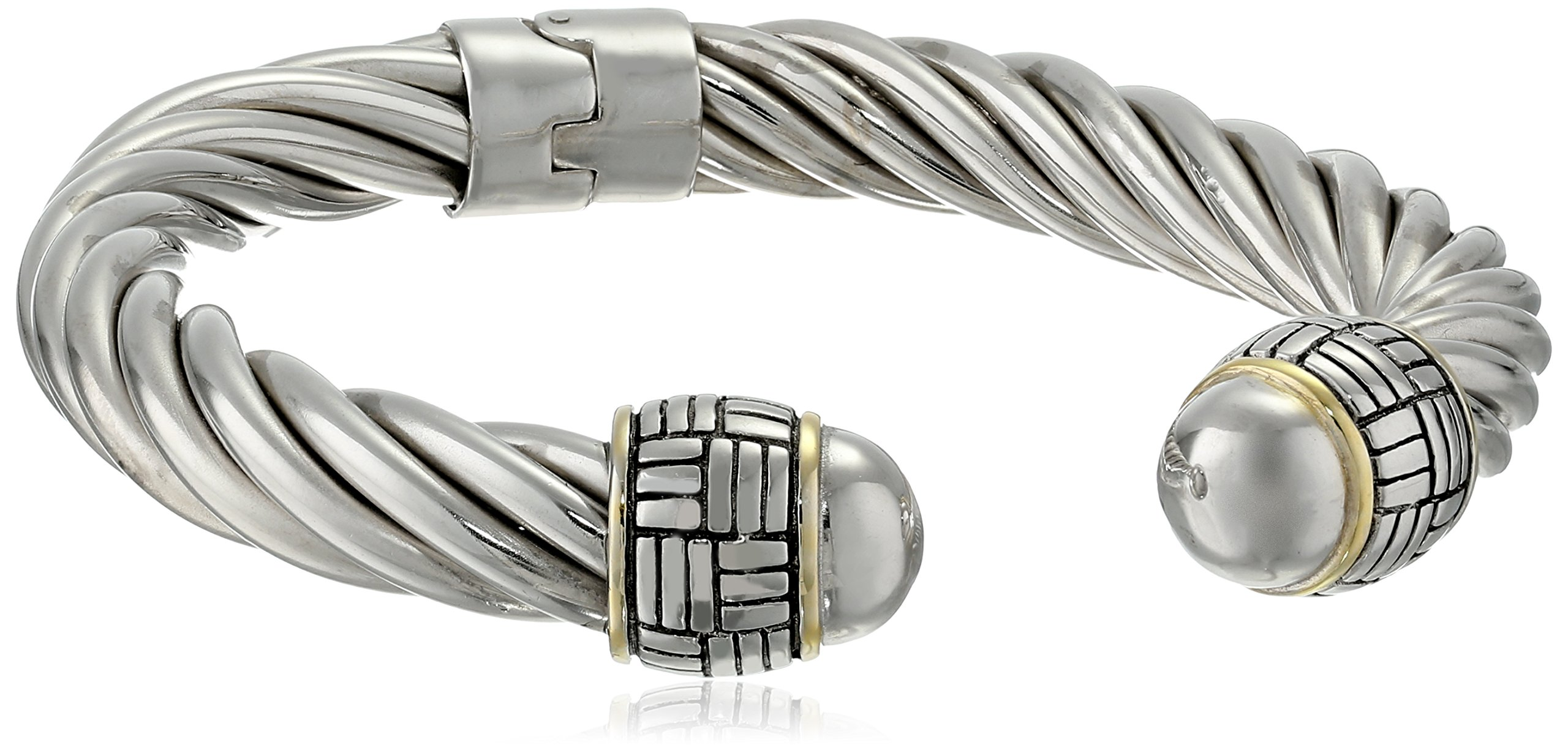 Two-Tone 14k Yellow Gold-Plated and Sterling Silver Twisted Bangle Bracelet, 7''