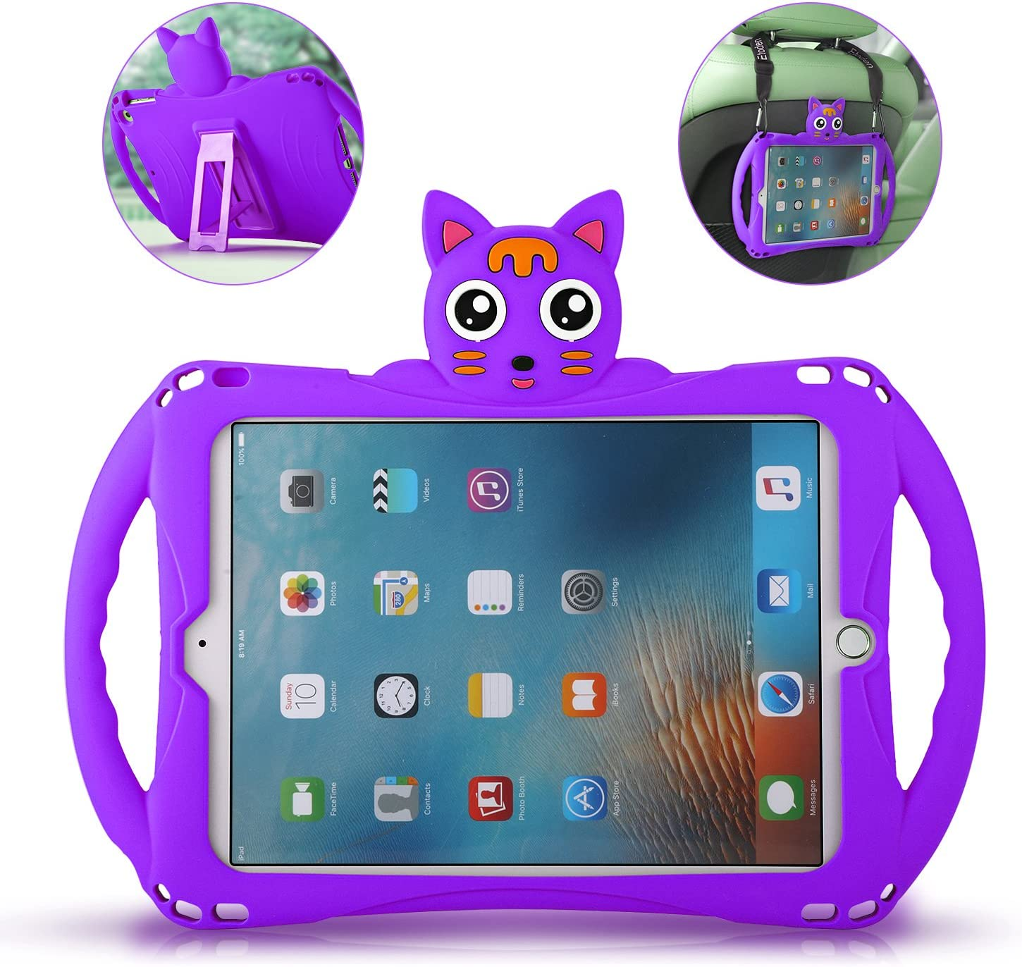 iPad Air Case with Adjustable Shoulder Strap,Etoden Cute Shockproof Silicone Handle Stand Case Cover for iPad 2017/2018 9.7 inch (Apple iPad 5th/6th Gen) and iPad Air