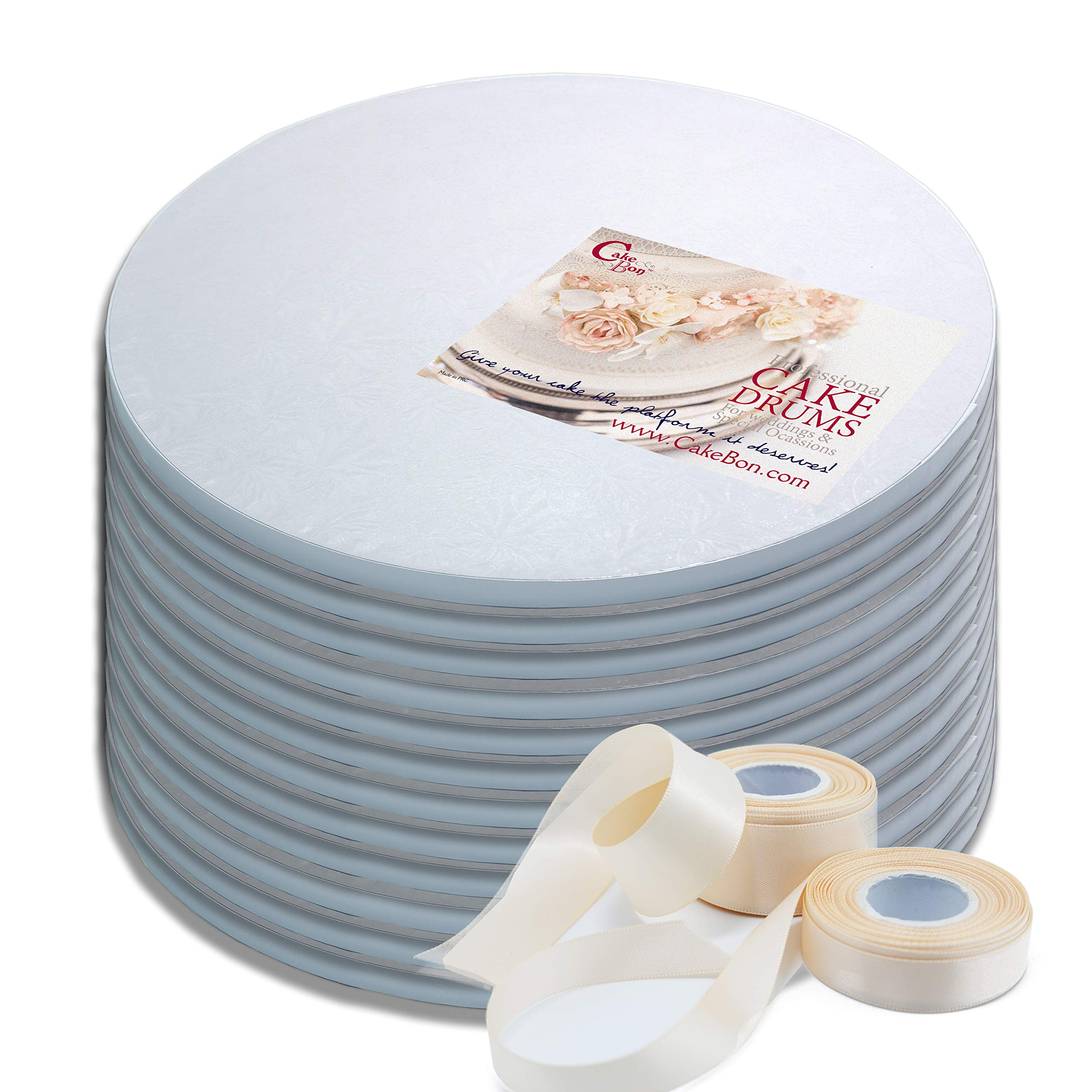 Cake Drums Round 14 Inches - Sturdy 1/2 Inch Thick - Professional Smooth Straight Edges - FREE Satin Cake Ribbon (White, 12-Pack)