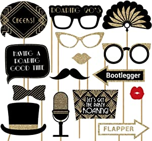 Fully Assembled Roaring 20s Photo Booth Props - Set of 30 - Black & Gold Selfie Signs - Great Gatsby Themed Party Supplies & Decorations - Cute Vintage Designs & Real Glitter - Did we mention no DIY?
