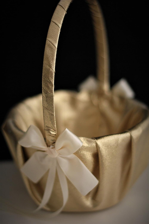 Gold Ivory Flower Girl Basket Pillow Box Customized