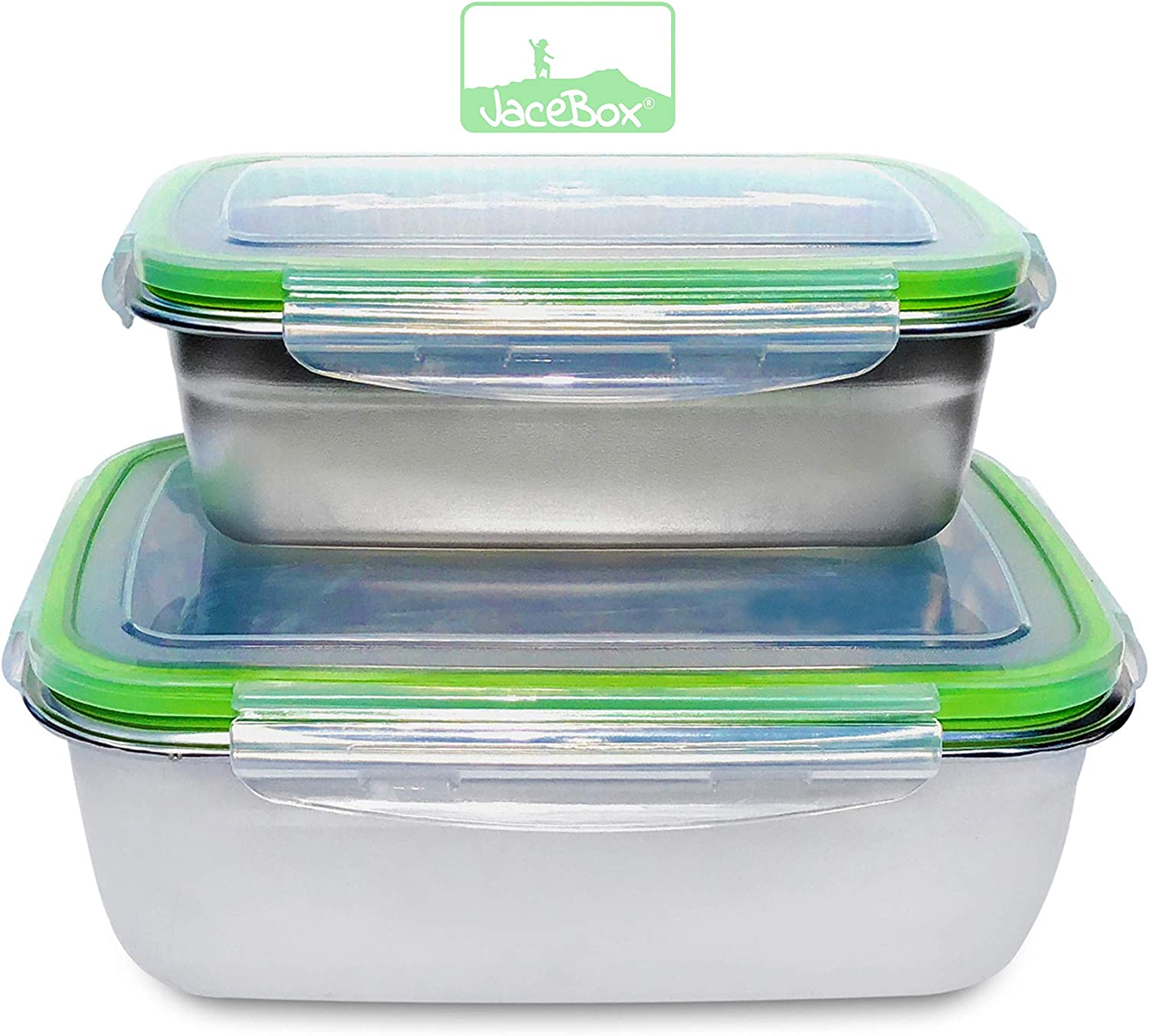JaceBox Stainless Steel Containers - Bento Boxes, New X-Large and Large Lunch Box, BPA Free, Great Meal Prep Containers for Portion Control Salads Sandwiches.Set of 2, Leakproof by JaceBox!