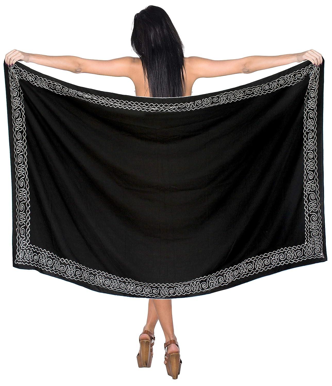 LA LEELA avvolgere mano delle donne ricamate bikini pareo bagno crociera abito gonna pareo nero