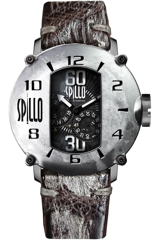 [スピーロ] SPILLO SPEED DEMON SD917KS-01BRSV スティール/ダークブラウン&シルバー アリゲーターレザー メンズ機械式腕時計 日本総代理店 [正規輸入品] B0758B35WN