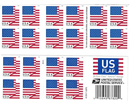 Image Unavailable Not Available For Color USPS US Flag 2018 Forever Stamps Book Of 20